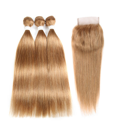 Straight Colored Human Hair Weave with Free /Middle Part 4×4 Lace Closure (27)