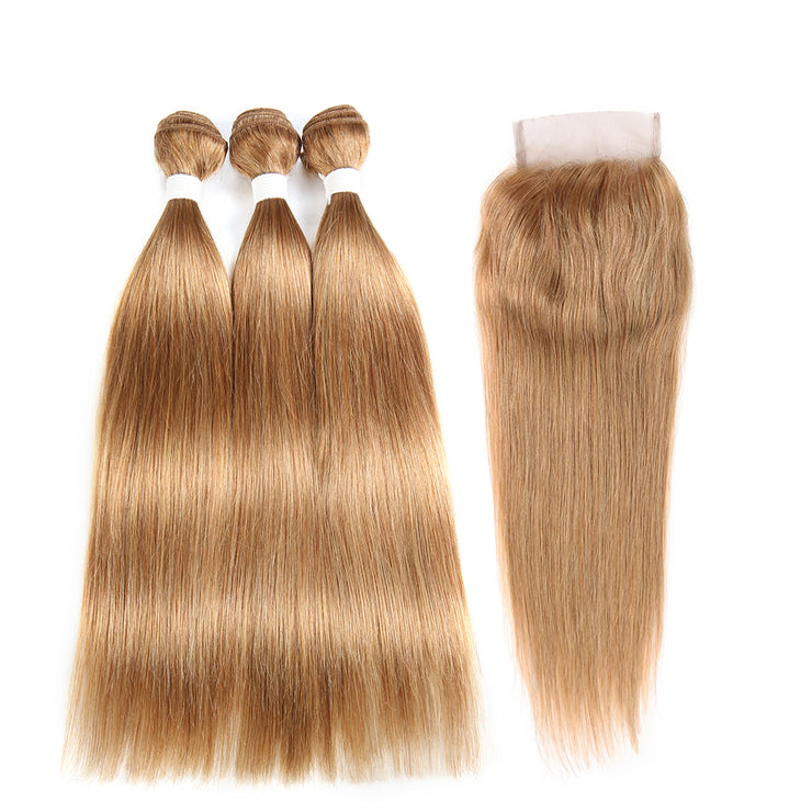 Straight Colored Human Hair Weave with Free /Middle Part 4×4 Lace Closure (27) (2773671280740)