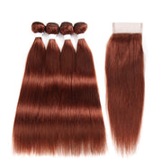 Straight Colored Human Hair Four Bundles Weave with One Free/Middle Part 4×4 Lace Closure (33) (2840536121444)
