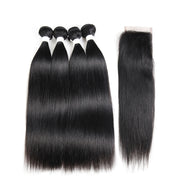 Straight Colored Human Hair Four Bundles Weave with One Free/Middle Part 4×4 Lace Closure (1B)