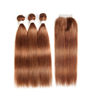 Straight Colored Human Hair Weave with Free /Middle Part 4×4 Lace Closure (30)