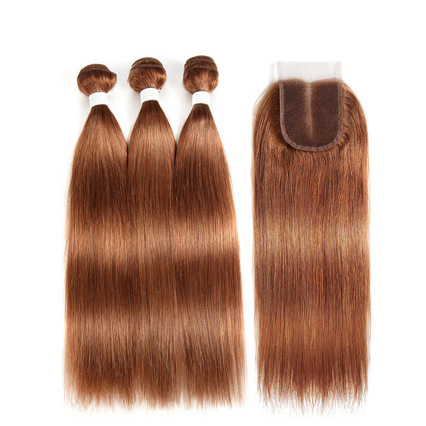Straight Colored Human Hair Weave with Free /Middle Part 4×4 Lace Closure (30) (2773763457124)