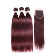 Straight Colored Human Hair Weave with Free /Middle Part 4×4 Lace Closure (99J) (2783024054372)