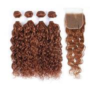 4 Human Hair Bundles Light Brown Water Wave with 4×4 Lace Closure (30#)
