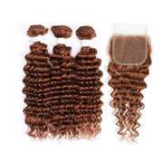 3 Deep Wave Light Brown Human Hair Bundles with 4×4 Lace Closure (30#)