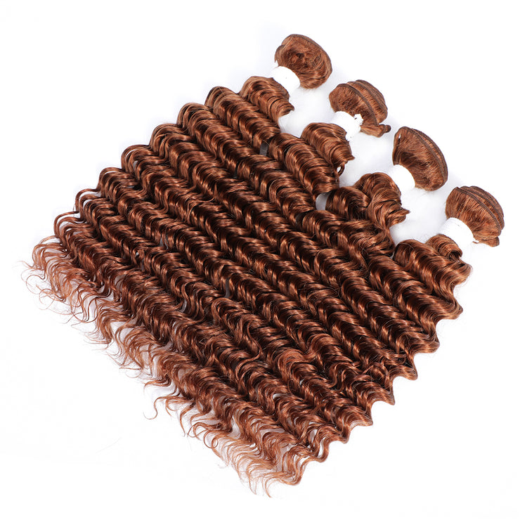 Kemy Hair 4 Human Hair Bundles Light Brown Deep Wave (30#)