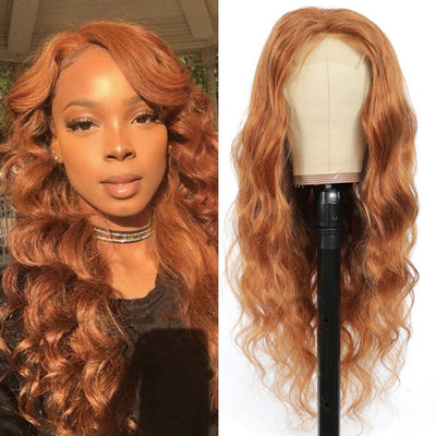 Kemy Hair Custom Brown Body Wave Human Hair 4X4 Lace Closure wigs 16''-28''(30) - Kemy Hair