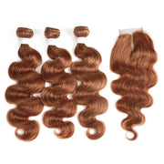 Body Wave Brown Human Hair Weave 3 Bundles with Free /Middle Part 4×4 Lace Closure (30)