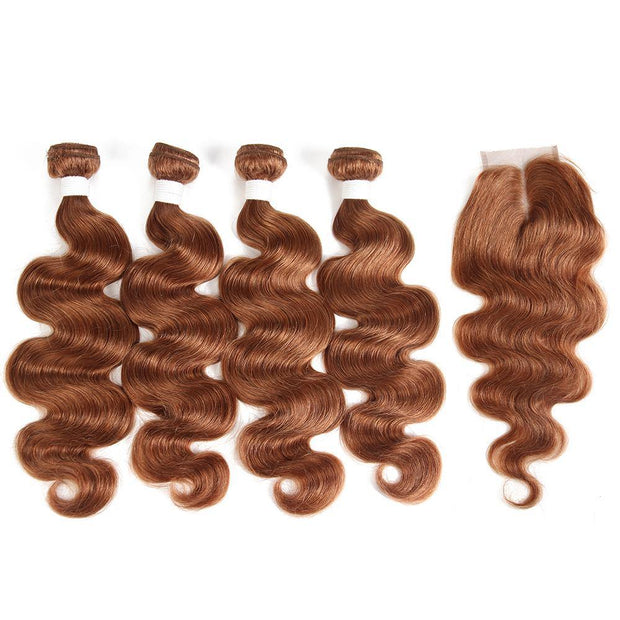 Body Wave Brown Human Hair 4 Bundles Weave with One Free/Middle Part 4×4 Lace Closure (30) (2851314172004)