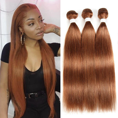 Kemy Hair Colored 100% Human Hair Weave Straight Three Hair Bundles 8-26 inch (30) - Kemy Hair