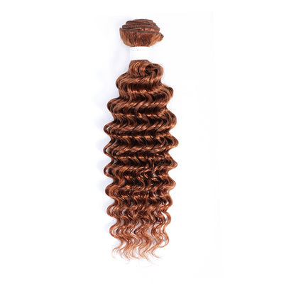 Deep Wave Single Human Hair Bundles Light Brown (30#)