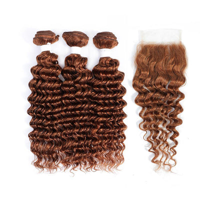 Kemy Hair 3 Deep Wave Light Brown Human Hair Bundles with 4×4 Lace Closure (30#)