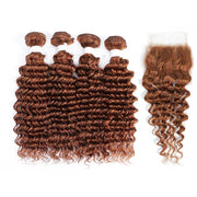 4 Human Hair Bundles Light Brown Deep Wave with 4×4 Lace Closure (30#)