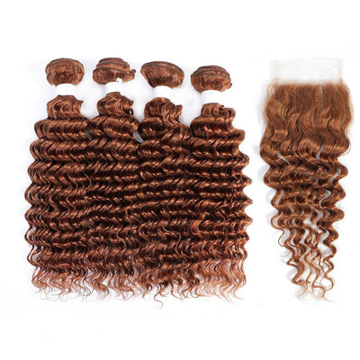 Kemy Hair 4 Human Hair Bundles Light Brown Deep Wave with 4×4 Lace Closure (30#)