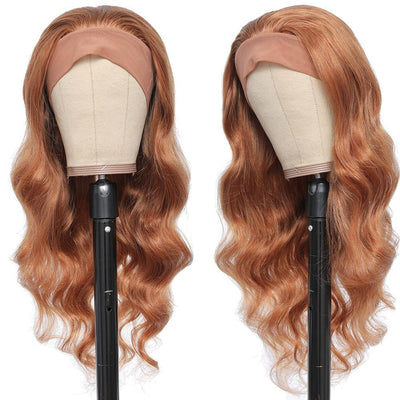 Kemy Hair Body Wave Human Hair Headband Wig Ginger Brown (16''-28'')(30) - Kemy Hair