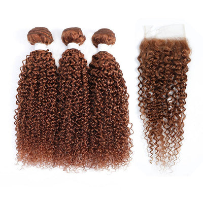 3 Kinky Curly Light Brown Human Hair Bundles with 4×4 Lace Closure (30#)