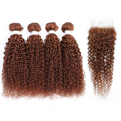 4 Human Hair Bundles Light Brown Kinky Curly with 4×4 Lace Closure (30#)