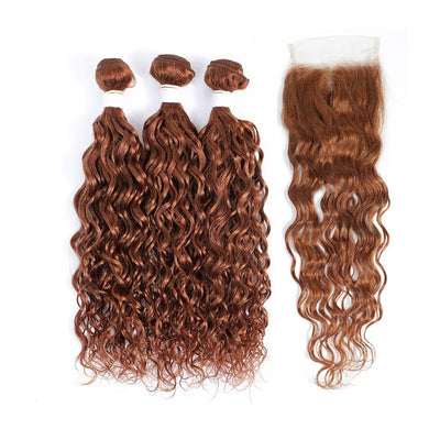 Kemy Hair 3 Water Wave Light Brown Human Hair Bundles with 4×4 Lace Closure (30#) - Kemy Hair