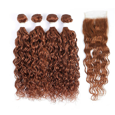 Kemy Hair 4 Human Hair Bundles Light Brown Water Wave with 4×4 Lace Closure (30#) - Kemy Hair