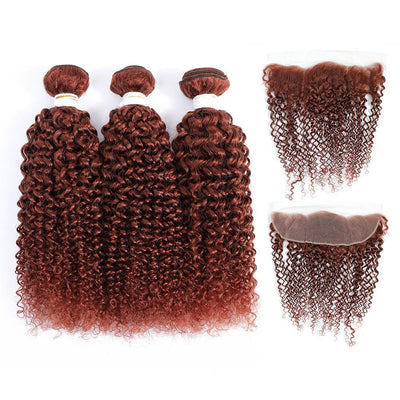 Kemy Hair Auburn Red Kinky Curly 3 Human Hair Bundles with 4×13 Lace Frontal (33#) - Kemy Hair
