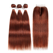 Straight Colored Human Hair Weave with Free /Middle Part 4×4 Lace Closure (33)