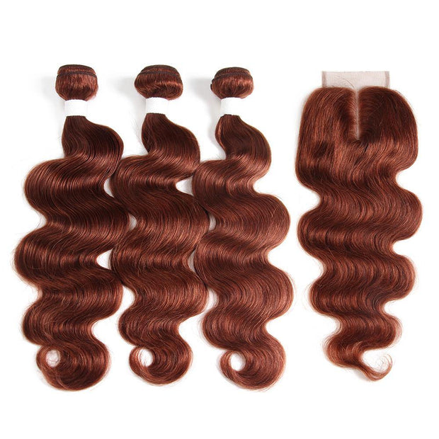 Body Wave Auburn Cooper Red Human Hair Weave 3 Bundles with Free /Middle Part 4×4 Lace Closure (33)