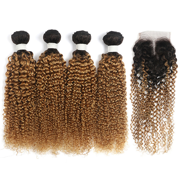 Kinky Curly Ombre Honey Blonde 4 Bundles with one Free/Middle Part Lace Closure