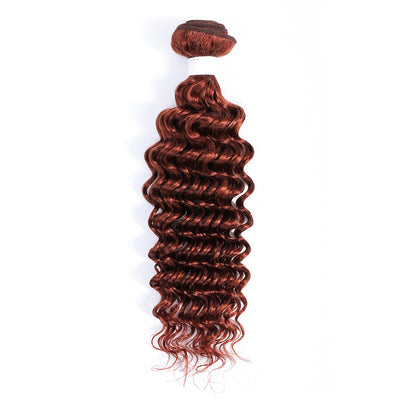 Deep Wave Single Human Hair Bundles Auburn Red (33#)