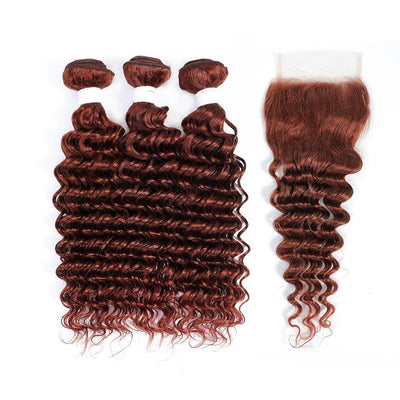 Kemy Hair 3 Deep Wave Auburn Red Human Hair Bundles with 4×4 Lace Closure (33#)