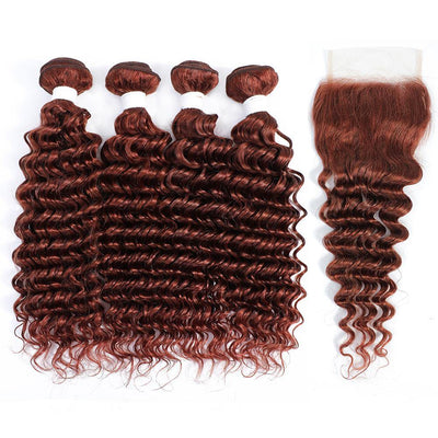 Kemy Hair 4 Human Hair Bundles Auburn Red Deep Wave with 4×4 Lace Closure (33#)