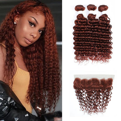 Auburn Red Deep Wave 3 Human Hair Bundles with 4×13 Lace Frontal (33#)