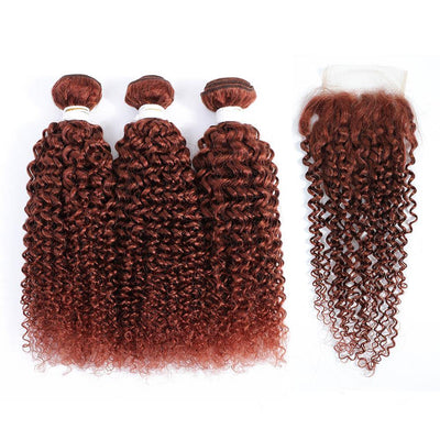3 Kinky Curly Auburn Red Human Hair Bundles with 4×4 Lace Closure (33#)