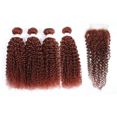 4 Human Hair Bundles Auburn Red Kinky Curly with 4×4 Lace Closure (33#)