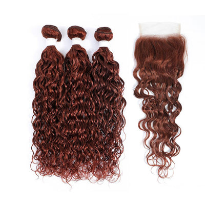 kemy Hair 3 Water Wave Auburn Red Human Hair Bundles with 4×4 Lace Closure (33#)