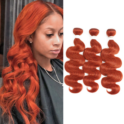 Kemy Hair Body Wave Burnt Orange Remy Three Human Hair Bundles 8''-26'' (350#) - Kemy Hair