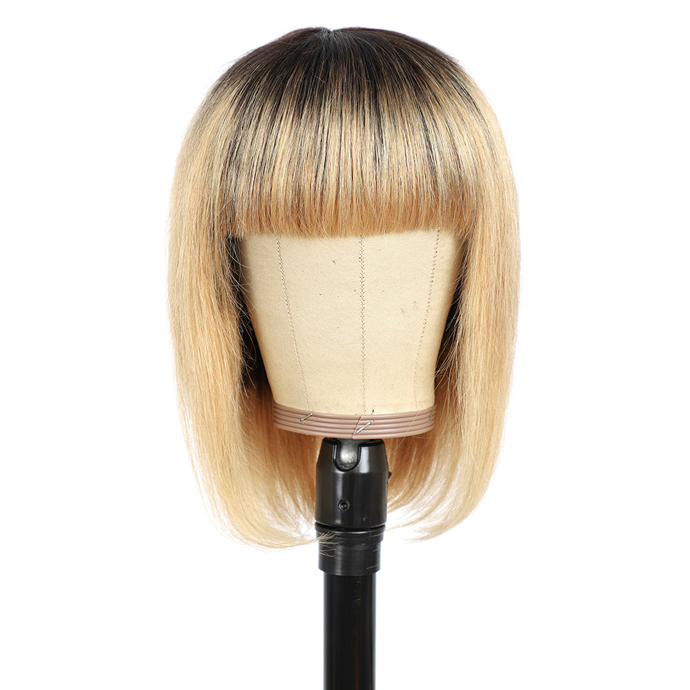 Kemy Hair Ombre Honey Blonde Straight Human Hair Bob Wigs with Bang(8''-16'')(T1B/27)