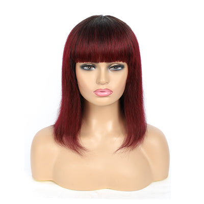 Ombre 99J Straight Human Hair Wigs with Bang(8''-16'')(T1B/99J)