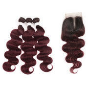 Ombre 99J Body Wave 3 Human Hair Bundles with One 4×4 Free/Middle Lace Closure