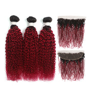 Kemyhair Human Hair 3 Bundles with 4×4 Lace Closure Straight (Burgundy) (2783136972900)
