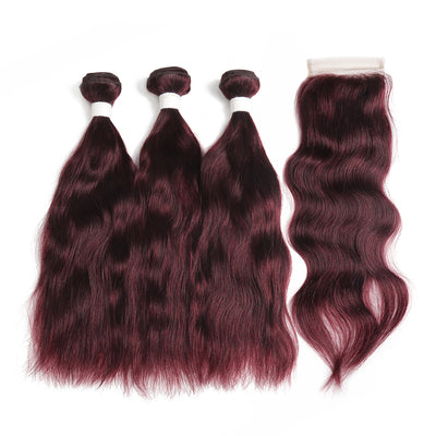 Natural Wavy 99J Human Hair 3 Bunldes with one 4×4 Free/Middle Part Lace Closure (99J) (3966457544774)