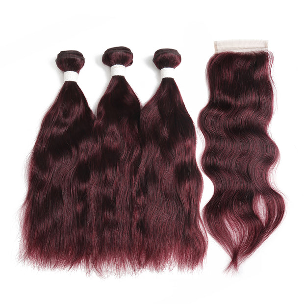 Natural Wavy 99J Human Hair 3 Bunldes with one 4×4 Free/Middle Part Lace Closure (99J)