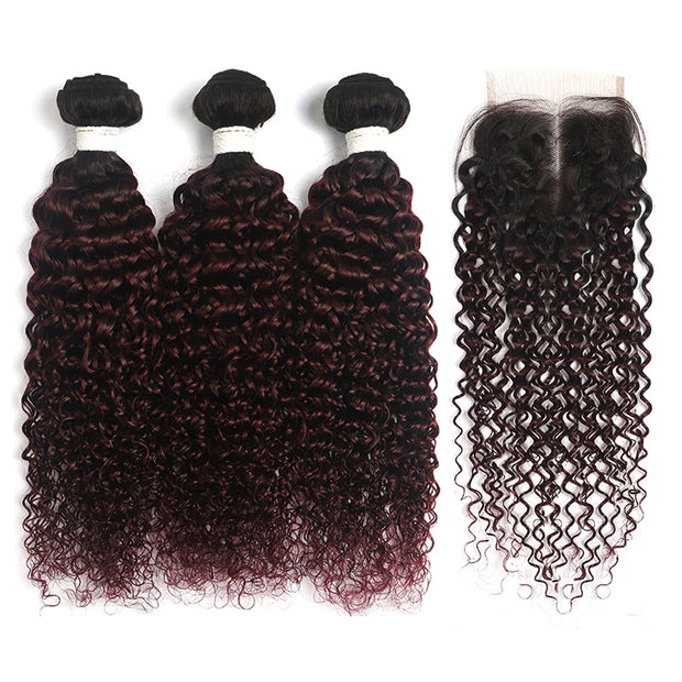 Ombre Maroon Red kinky curly 3 Hair Bundles with One Free/Middle Part 4×4 Lace Closure(T1B/99J)