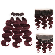Ombre 99J Body Wave 3 Human Hair Bundles with One 4×13 Free /Middle Lace Frontal