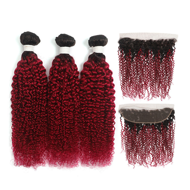 Kemyhair Human Hair 3 Bundles with 4×4 Lace Closure Straight (Burgundy)