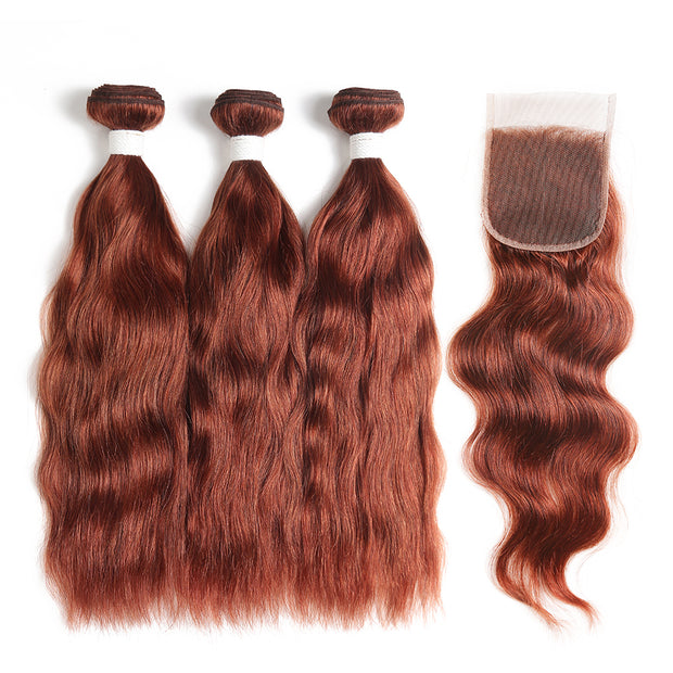 Natural Wavy 33 Human Hair 3 Bunldes with one 4×4 Free/Middle Part Lace Closure (33)