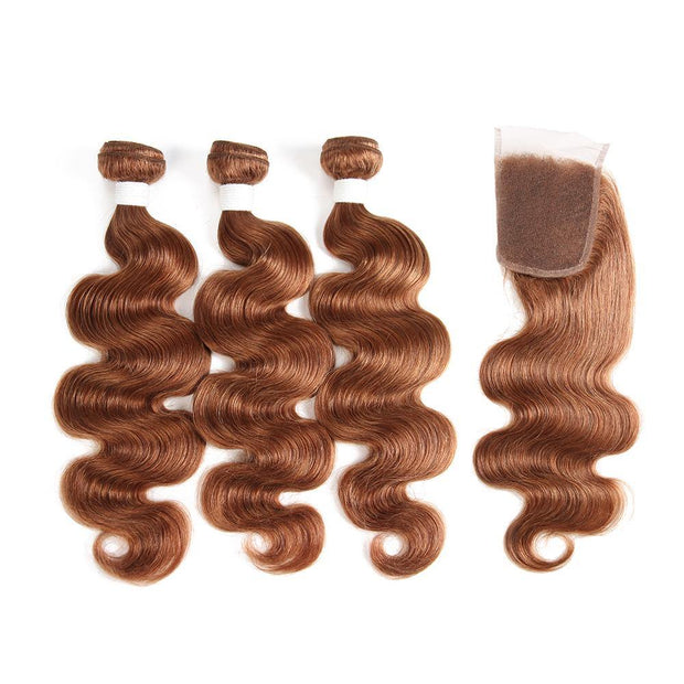 Body Wave Brown Human Hair Weave 3 Bundles with Free /Middle Part 4×4 Lace Closure (30) (2908957605988)