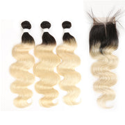 Ombre Blond Body Wave Remy 3 Human Hair Bundles with One 4×4 Free/Middle Lace Closure (1B/613)
