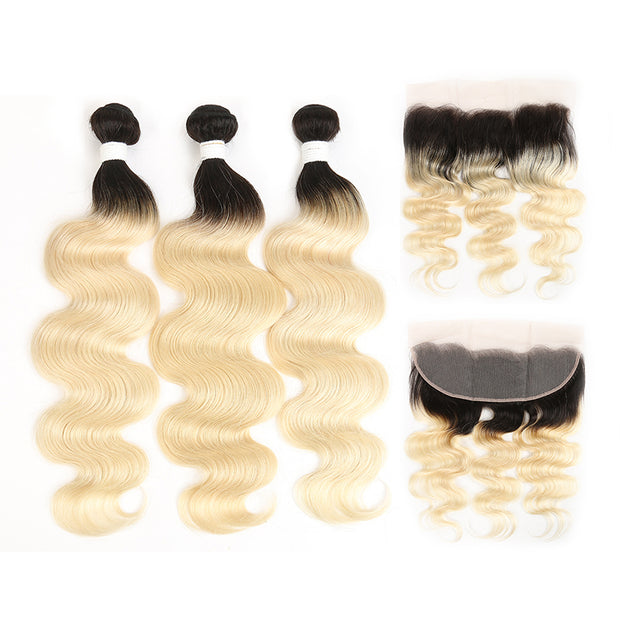 Ombre Blond Body Wave Remy 3 Human Hair Bundles with One 4×13 Free/Middle Lace Frontal (1B/613) (3947267686470)