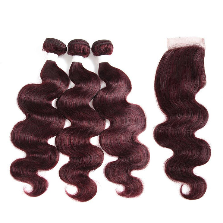 Body Wave Maroon Red Human Hair Weave Three Bundles with Free /Middle Part 4×4 Lace Closure (99J)
