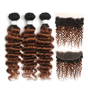 Deep Wave Ombre Brown Ginger 3 Bundles with 4×13 Lace Frontal (T1B/30) (4374961160262)